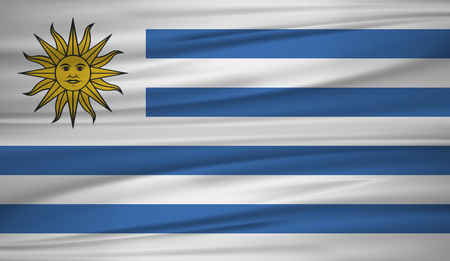 Uruguay flag vector. Vector flag of Uruguay blowig in the wind.