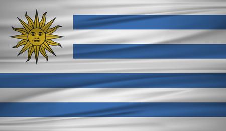 Uruguay Flaggenvektor. Vektorflagge von Uruguay bläst im Wind.