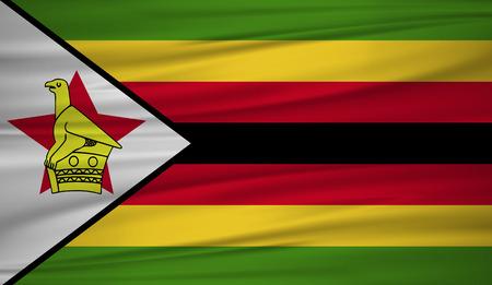 Zimbabwe flag vector. Vector flag of Zimbabwe blowig in the wind.