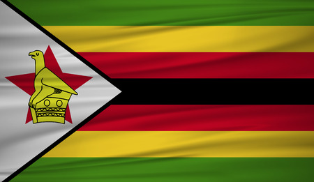 Zimbabwe flag vector. Vector flag of Zimbabwe blowig in the wind.