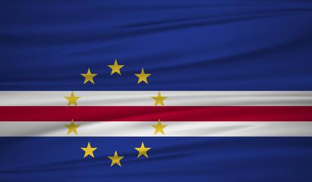 Cape Verde flag vector. Vector flag of Cape Verde blowig in the wind. Vectores