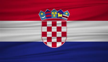 croatia flag vector. Vector flag of croatia blowig in the wind. Illustration
