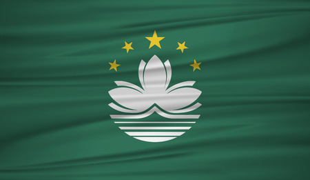 Macau flag vector. Vector flag of Macau blowig in the wind.