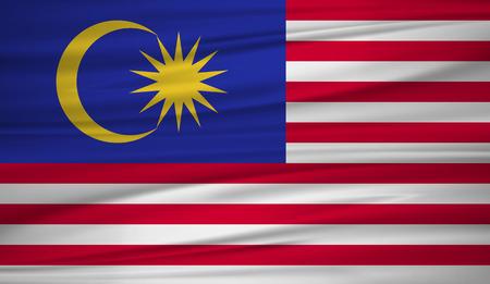 Malaysia flag vector. Vector flag of Malaysia blowig in the wind.