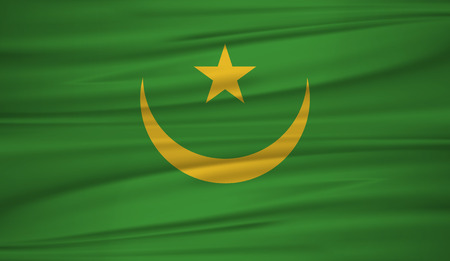 Mauritania flag vector. Vector flag of Mauritania blowig in the wind.The national flag of Mauritania on wavy silk background.