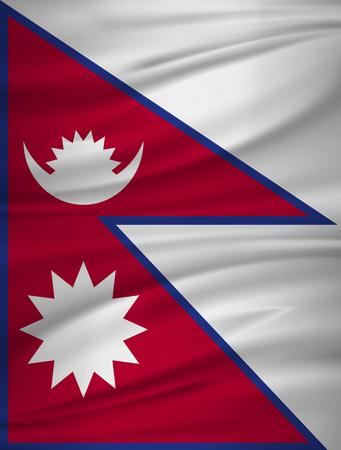 Nepal flag vector. Vector flag of Nepal blowig in the wind. Illusztráció