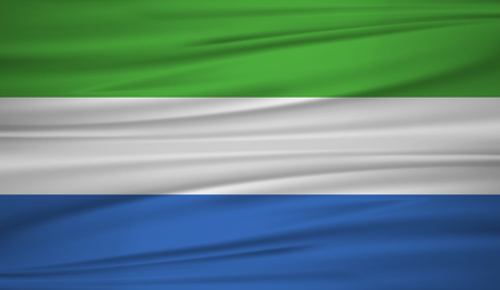 Sierra Leone flag vector. Vector flag of Sierra Leone blowig in the wind. EPS 10.