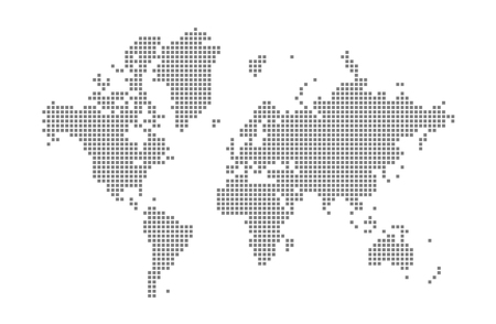 Pixel map of World. Vector dotted map of World isolated on white background. Abstract computer graphic of World map. vector illustration. Illustration