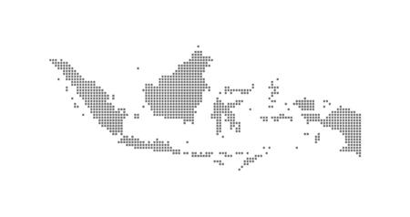 Pixelkarte von Indonesien. Gepunktete Vektorkarte von Indonesien isoliert auf weißem Hintergrund. Abstrakte Computergrafik von Indonesien-Karte. Vektor-Illustration.