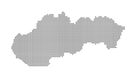 Pixel map of Slovakia. Vector dotted map of Slovakia isolated on white background. Abstract computer graphic of Slovakia map. vector illustration. Ilustracja