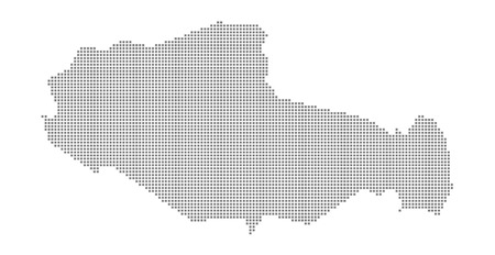 Pixel map of Tibet. Vector dotted map of Tibet isolated on white background. Abstract computer graphic of Tibet map. vector illustration. Stock Vector - 110208983