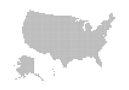 Mapa de píxeles de Estados Unidos. Mapa de puntos vectoriales de Estados Unidos aislado sobre fondo blanco. Gráfico de computadora abstracta del mapa de Estados Unidos. ilustración vectorial.