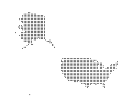 Pixel map of USA Mercator. Vector dotted map of USA Mercator isolated on white background. Abstract computer graphic of USA Mercator map. vector illustration.  イラスト・ベクター素材