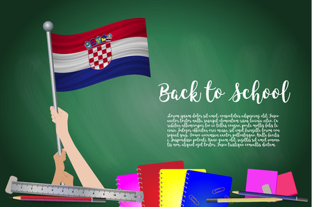 Vector flag of croatia on Black chalkboard background. Education Background with Hands Holding Up of croatia flag. Back to school with pencils, books, school items learning and childhood concept.