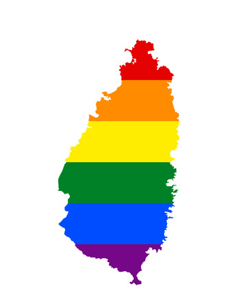 LGBT flag map of Saint Lucia. Vector rainbow map of Saint Lucias in colors of LGBT (lesbian, gay, bisexual, and transgender) pride flag. Illusztráció