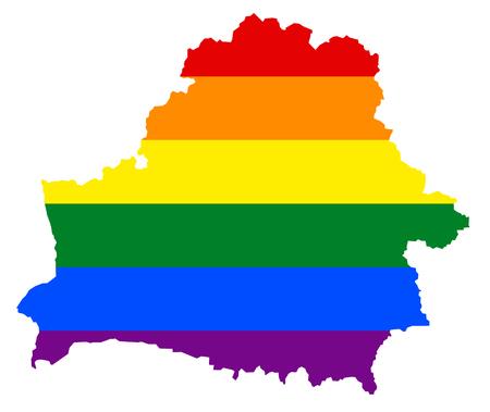 LGBT flag map of Belarus. Vector rainbow map of Belarus in colors of LGBT (lesbian, gay, bisexual, and transgender) pride flag.