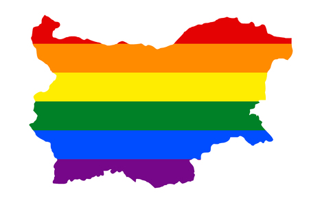 LGBT flag map of Bulgaria. Vector rainbow map of Bulgaria in colors of LGBT (lesbian, gay, bisexual, and transgender) pride flag. 版權商用圖片 - 110561029