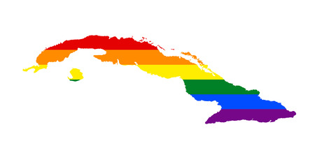 LGBT flag map of Cuba. Vector rainbow map of Cuba in colors of LGBT (lesbian, gay, bisexual, and transgender) pride flag.