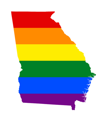 LGBT flag map of Georgia state. Vector rainbow map of Georgia state in colors of LGBT (lesbian, gay, bisexual, and transgender) pride flag.