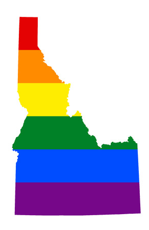 LGBT flag map of Idaho. Vector rainbow map of Idaho in colors of LGBT (lesbian, gay, bisexual, and transgender) pride flag.