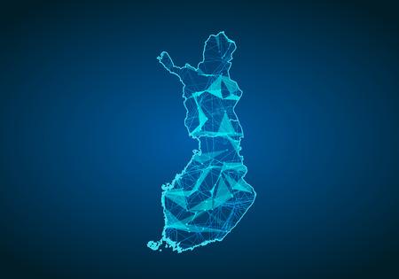 Abstrakte Maischelinie und Punktskalen auf dunklem Hintergrund mit Karte von Finnland. Abstraktes Netzwerk-Vektor-Konzept von Finnland. Internet- und Verbindungskartenhintergrund. Dreieck, Punkt, Linie Vektor.
