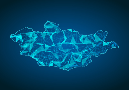 Abstract mash line and point scales on dark background with map of macedonia. Abstract network vector concept of macedonia. Internet and connection map background. Triangle, dot ,line Vector.