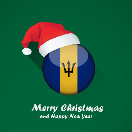 Flag of barbados. Merry Christmas and happy new year background design with glossy round Flag of barbados. vector illustration. Stock Vector - 110898829