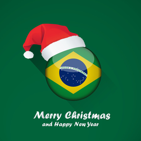 Flag of brazil. Merry Christmas and happy new year background design with glossy round Flag of brazil. vector illustration.