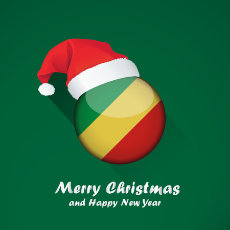 Flag of republic of the congo. Merry Christmas and happy new year background design with glossy round Flag of republic of the congo. vector illustration.