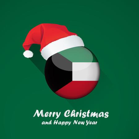 Drapeau du Koweït. Joyeux Noël et bonne année design de fond avec drapeau rond brillant du koweït. illustration vectorielle.