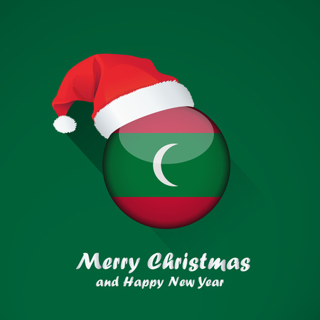 Flag of maldives. Merry Christmas and happy new year background design with glossy round Flag of maldives. vector illustration.