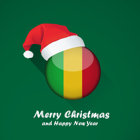 Flag of mali. Merry Christmas and happy new year background design with glossy round Flag of mali. vector illustration.