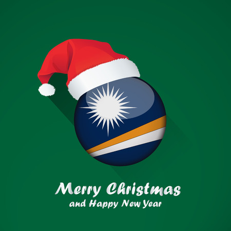 Flag of marshall islands. Merry Christmas and happy new year background design with glossy round Flag of marshall islands. vector illustration.  イラスト・ベクター素材