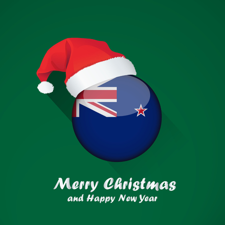 Flag of new zealand. Merry Christmas and happy new year background design with glossy round Flag of new zealand. vector illustration. 일러스트