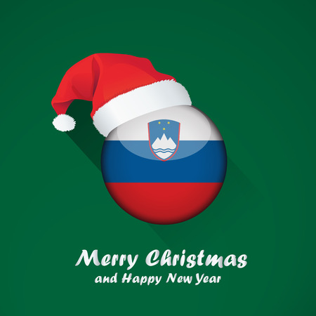 Flag of slovenia. Merry Christmas and happy new year background design with glossy round Flag of slovenia. vector illustration.