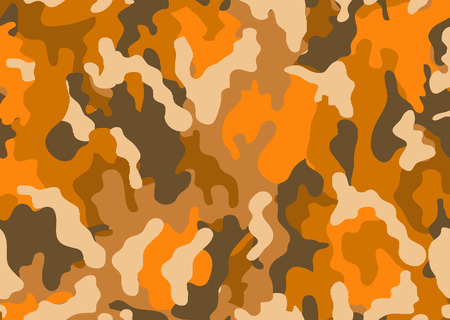 Abstract military or hunting camouflage background. Woodland  camo texture vector. Orange tone stlye. Banque d'images - 111621836
