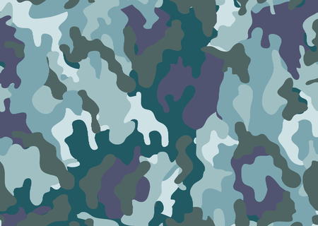 Abstract military or hunting camouflage background. Woodland  camo texture vector. Blue tone stlye. Illustration