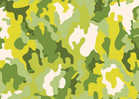 Abstract military or hunting camouflage background. Woodland  camo texture vector. Yellow and Green tone stlye.