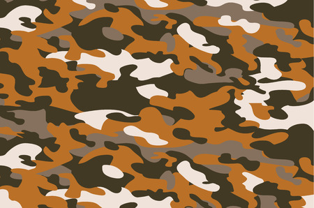 Camouflage military background. Abstract military or hunting camouflage background. Woodland seamless camo texture vector. Shapes of foliage and branches. Army camo clothing background. Vettoriali