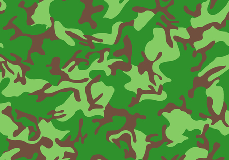 vector background pattern of summer army camouflage, Green color stlye, Camouflage pattern with Shapes of foliage and branches. Woodland style Vettoriali