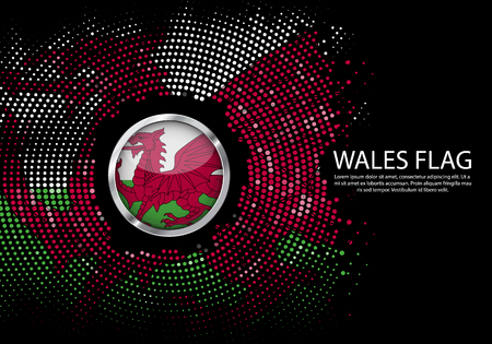 Background Halftone gradient template or LED neon Light on round Dots style of Wales flag.  Modern soccer cup for futuristic background with circle metallic round of Wales flag. Vector. Ilustração