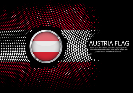 Background Halftone gradient template or LED neon Light on round Dots style of austria flag. Modern soccer cup for futuristic background with circle metallic round of austria flag. Vector.