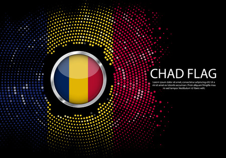 Background Halftone gradient template or LED neon Light on round Dots style of chad flag.  Modern soccer cup for futuristic background with circle metallic round of chad flag. Vector.