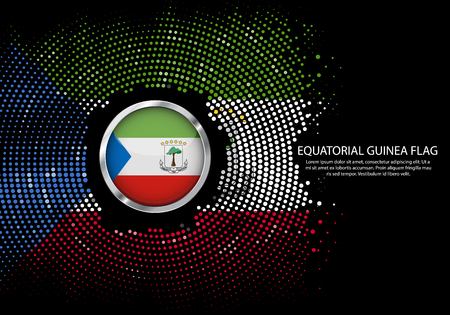 Background Halftone gradient template or LED neon Light on round Dots style of Equatorial Guinea flag.  Modern soccer cup for futuristic background with circle metallic round of Equatorial Guinea flag. Vector.