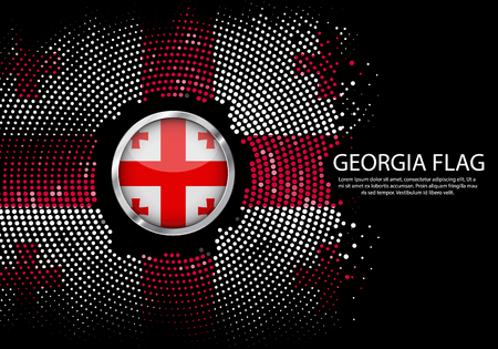 Background Halftone gradient template or LED neon Light on round Dots style of Georgia flag.  Modern soccer cup for futuristic background with circle metallic round of Georgia flag. Vector.