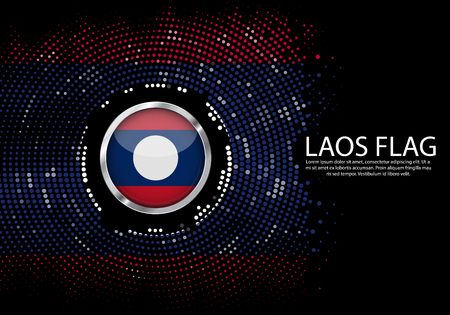 Background Halftone gradient template or LED neon Light on round Dots style of laos flag.  Modern soccer cup for futuristic background with circle metallic round of laos flag. Vector.