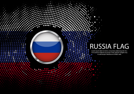 Background Halftone gradient template or LED neon Light on round Dots style of Russia flag.  Modern soccer cup for futuristic background with circle metallic round of  flag. Vector. Illustration