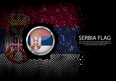 Background Halftone gradient template or LED neon Light on round Dots style of Serbia flag. Modern soccer cup for futuristic background with circle metallic round of flag. Vector. Vektorové ilustrace