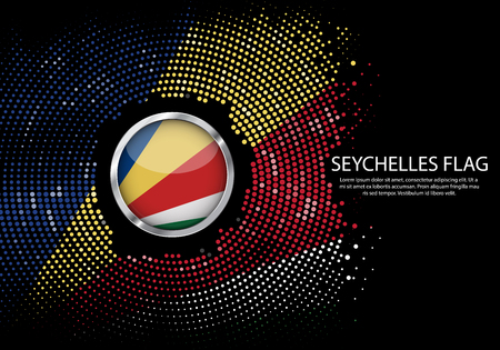 Background Halftone gradient template or LED neon Light on round Dots style of Seychelles flag.  Modern soccer cup for futuristic background with circle metallic round of Seychelles flag. Vector.