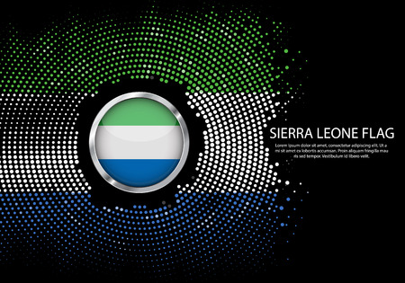 Background Halftone gradient template or LED neon Light on round Dots style of Sierra Leone flag.  Modern soccer cup for futuristic background with circle metallic round of Sierra Leone flag. Vector.